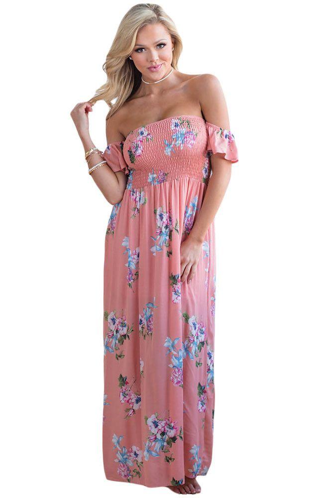 Chicloth Pink Floral Print Elastic Bandeau Top Off Shoulder Boho Maxi Dress