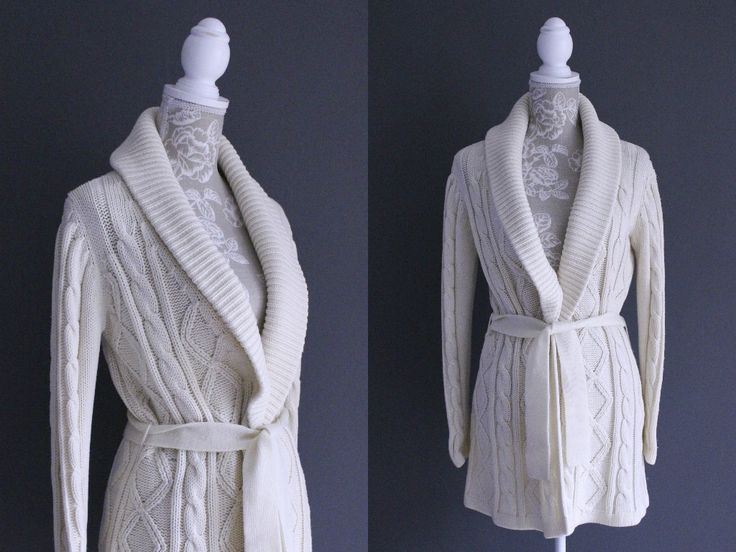 Vintage 50s Womens Cream Cable Knit Wrap Cardigan | Chunky Knit Christmas Cardigan | Vintage Loungewear Long Cardigan. John Wanamaker. S/M by Venelle on Etsy