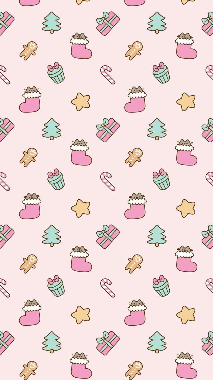 Pusheen Christmas Wallpaper Wallpaper Iphone Christmas Cute Christmas Wallpaper Christmas Phone Wallpaper