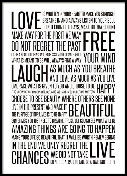 Zwart-wit poster met tekst in verschillende afmetingen. Een mooie poster met een boodschap. Manifesto of life. Zowel mooi als oppeppend op de muur. www.desenio.nl