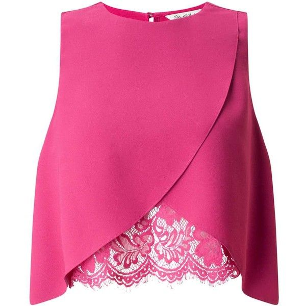Miss Selfridge Pink Lace Insert Shell Top (935 MXN) ❤ liked on Polyvore featuring tops, shirts, crop top, blusas, pink, pink top, longline shirt, pink sleeveless top, sleeveless shirts and fitted shirts