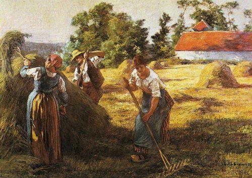 Hier zie je de economie van de boeren. Ze deden aan landbouw. Hier zie je de akkerbouw. Ze oogsten de graan.
