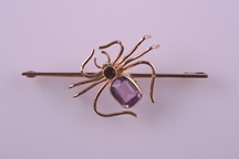 9ct Rose Gold 1920's Spider Brooch With Amethyst And Garnet