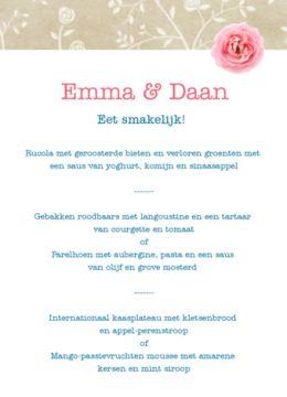 Enkele menukaart met groene vintage achtergrond en roze balk met knopen en roze roos.