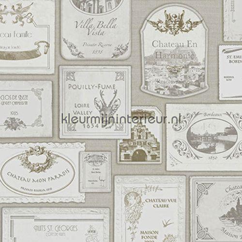 Wijn etiketten behang SD3001, Splendour van Hookedonwalls