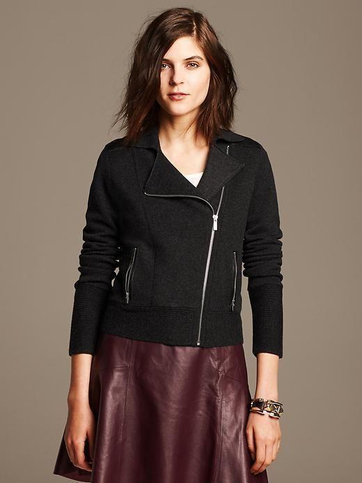 8209e4377f Banana Republic Faux-Leather Trim Moto Sweater Knit Jacket Sz XL ...