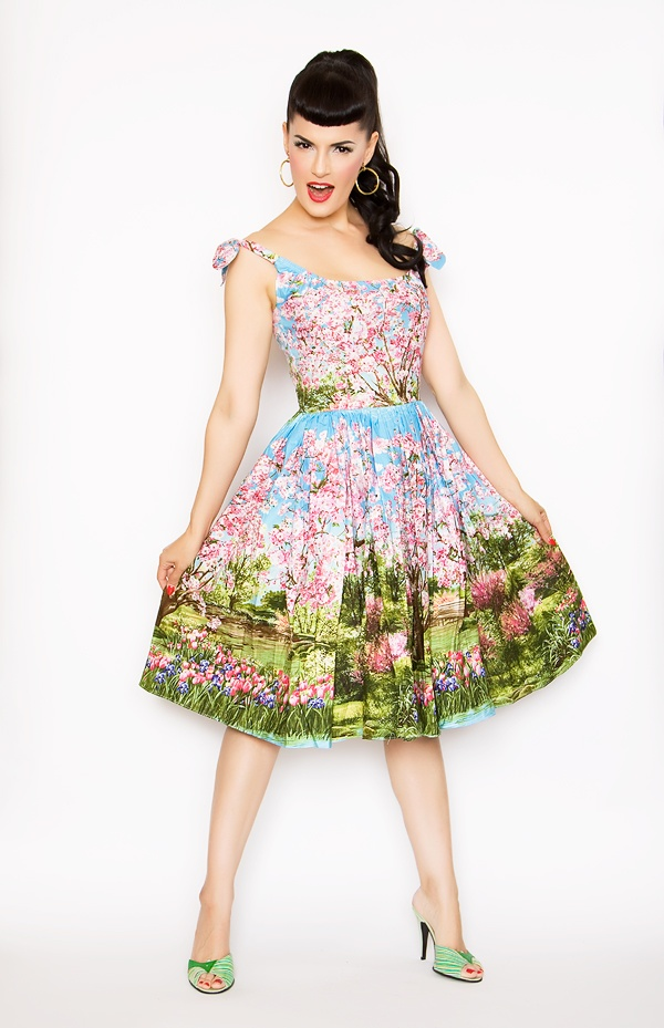 Pin Up Dress Pearl in Cherry Blossom Tree