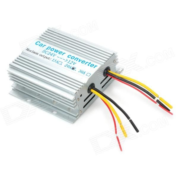 Convert your DC24 volts to DC12 volts with this compact power supply converter which gives you the option of powering your 12V devices by your 24V truck or lorry battery - Aluminium alloy quality material - Input voltage: 24V - Output voltage: 12V - Yellow cable max current: 20A http://j.mp/1ljLwsN
