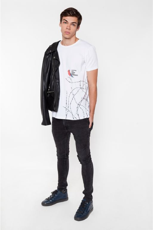 FREEDOM II. design in Classic men cut #ABIDELESS #dope #style #streetwear #sneakers #model #white #tee #new #collection #photoshoot