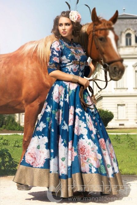 Imposing Blue Raw Silk ReadyMade Anarkali    #Floral, #Printed, #Blue, #FloorLength