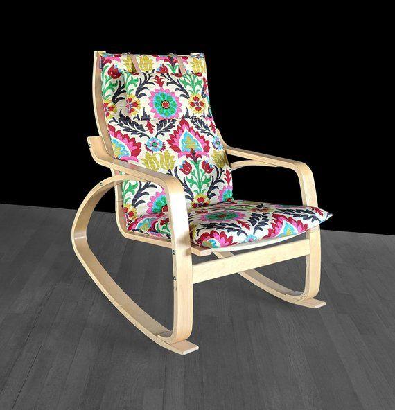 Jewel Tones Ikea Poang Cushion Slipcover Flower Print Poang Chair