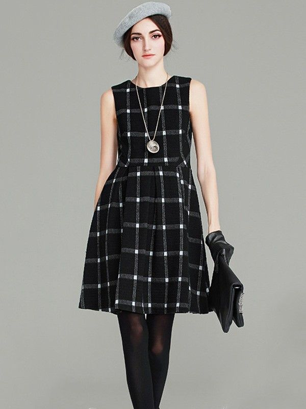 [ad] The Black Sleeveless Plaid Pattern Swing Dress is a timeless look from METISU.
