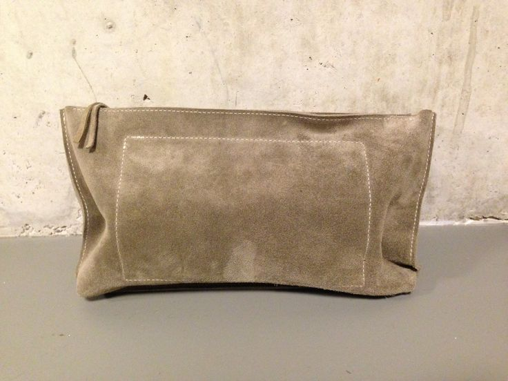 KP#1334 creme suede leather toiletry bag for women; with zipper and zipper pouch inside