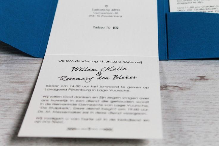 Trouwkaart Willem & Roos   Ontwerp Studio Prop - www.studio-prop.nl #StudioProp #Wedding #Invitation #Blue #Blauw #Stationary