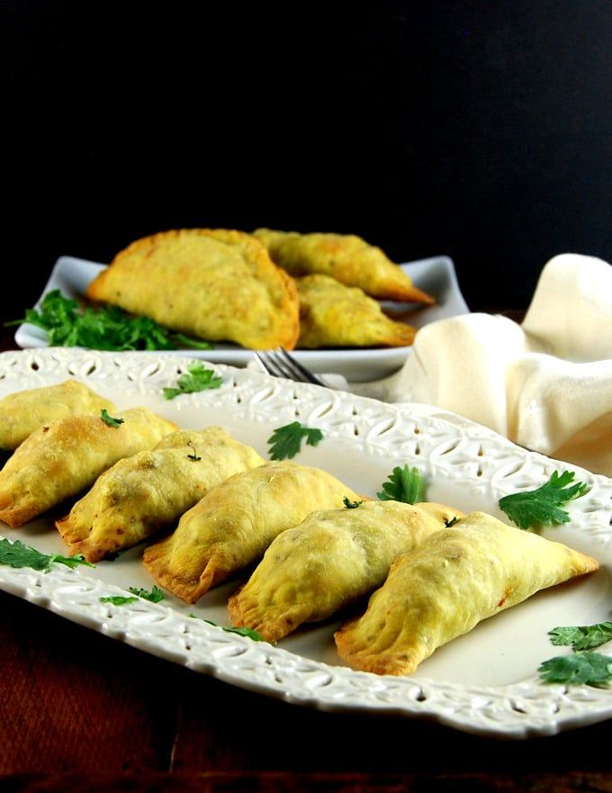 Baked and tasty Keema Samosas, or Indian meat pies. These are completely vegan and so flavorful that no one will tell the difference.