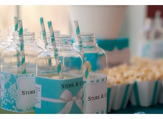 Tiffany Baby Shower Bottle Labels | Elegant Baby Shower Ideas