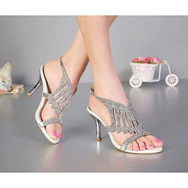 Chaussures Femme - Habillé / Décontracté / Soirée & Evénement - Noir / Argent / Or - Talon Aiguille - Talons - Sandales - Cuir de 2016 à ₣59.39