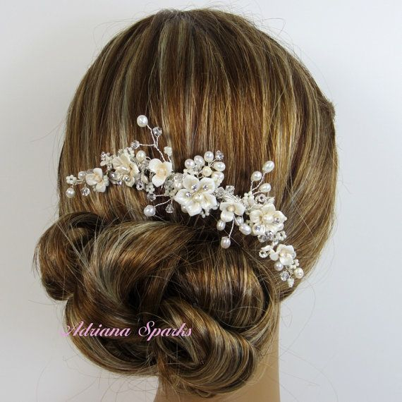 ALLISON HAIR COMB  Beautiful and stunning Hair comb is made with porcelain flowers, freshwater pearls, rhinestone accents, hand wired
