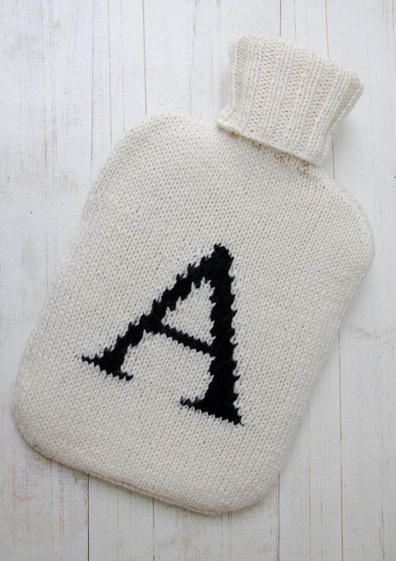 Hot Water Bottle Cover Knitted Personalized Initial Monogram