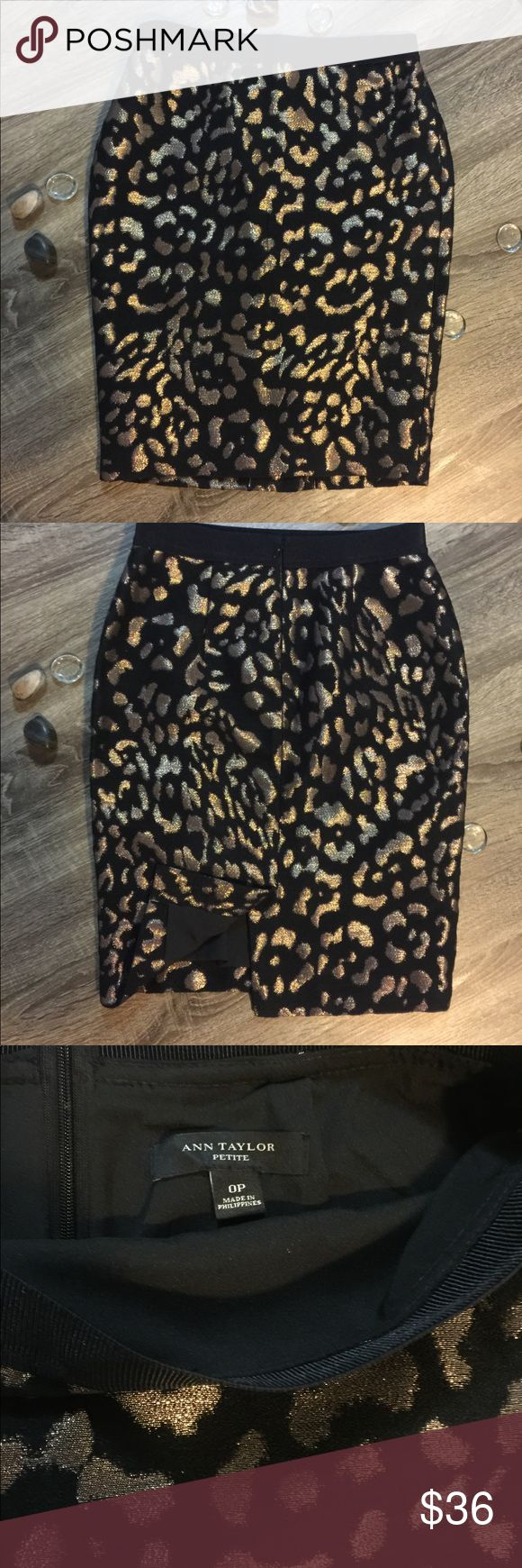 Ann Taylor black and gold leopard pencil skirt Ann Taylor black pencil skirt with metallic gold cheetah style print. Split in the middle back of skirt. Ann Taylor Skirts Pencil