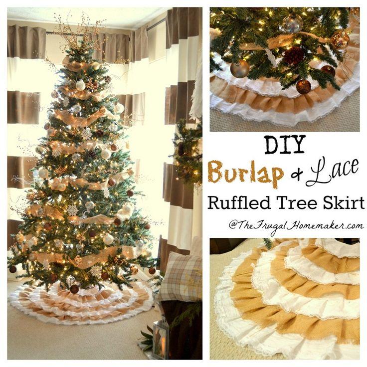 DIY Burlap and Lace Christmas Tree Skirt