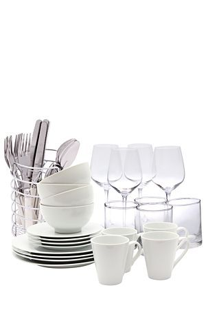 """The perfect starter set for any newly web couple or new home owner, contemporary and modern sure to add value to your home. This basic starter set includes 4 porcelain dinner plates, 4 porcelain side plates, 4 porcelain bowls and 4 porcelain mugs, 4 wine glasses and 4 glass tumblers, also a 18/0 stainless steel 16 piece acrylic cutlery set with cutlery holder for easy storage.<div class=""""pdpDescContent""""></div>"""