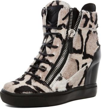 Giuseppe Zanotti Wedge Sneaker in Leopard - Lyst