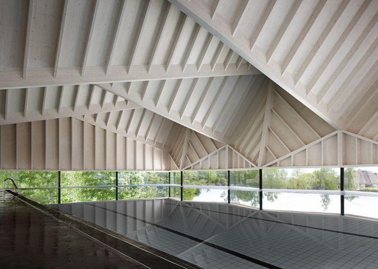 Duggan Morris design swimming pool with angular wooden roof