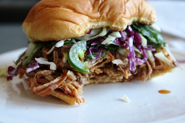 Pulled pork sandwich with cilantro-jalapeno slaw - Did the slaw recipe ...