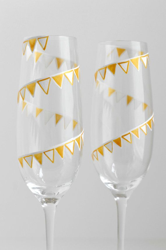 Gold and White Pendant Banner Painted Champagne Flutes - Set of 2 Personalized Toasting Flutes