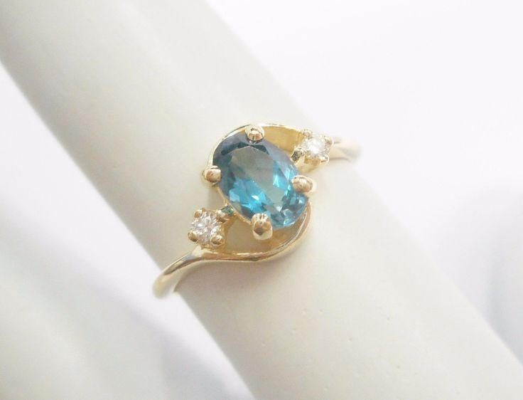 Genuine 14k Yellow Gold .50 Carat Oval London Blue Topaz Ring Sz 4.5 #2513