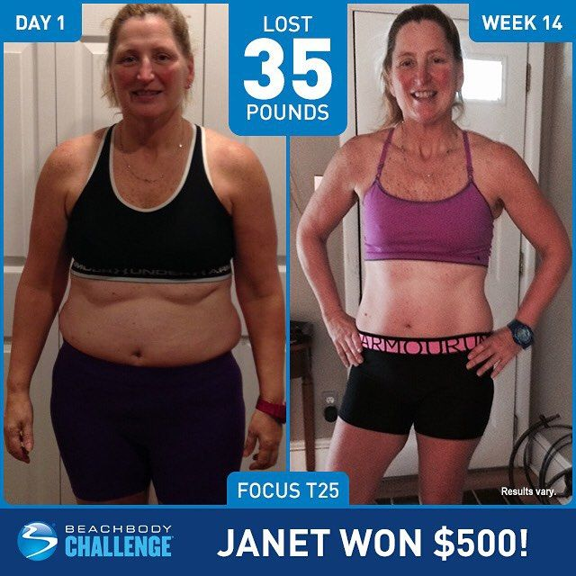 "Janet Norton, a 50 year-old PE teacher, lost 35 lbs in 14 weeks with FOCUS T25. She entered her results into The @BeachbodyChallenge, and won $500! She says: ""Since I am a health and PE teacher, I..."