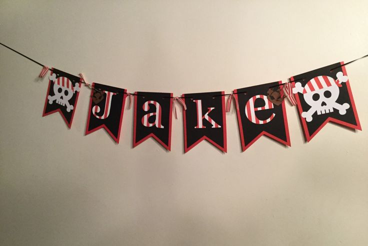 Pirate party banner, pirate banner customized with name, pirate  birthday party  banner, pirate birthday banner, by Awesomepapercreation on Etsy https://www.etsy.com/listing/463859311/pirate-party-banner-pirate-banner