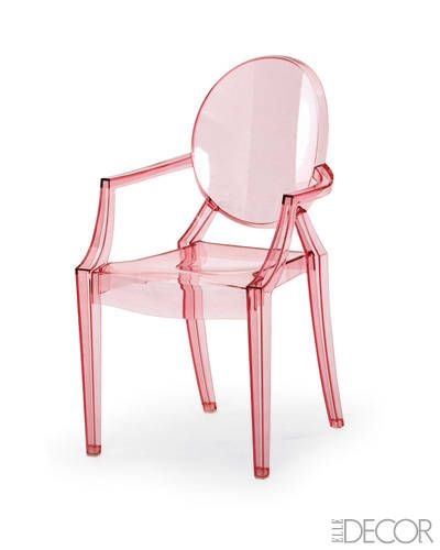 "Lou Lou Ghost Chair for kids! by Philippe Starck for Kartell    ""A brilliant kids' chair that design junkies will appreciate,"" Delphine Krakoff raves. ""Children will love that it's see-through and looks like something out of a dollhouse."""