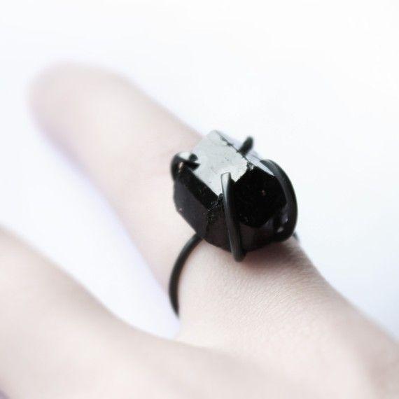 Black hole . oxidized sterling silver black tourmaline ring