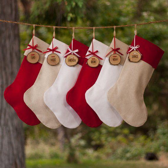 Farmhouse Xmas Stocking Personalized Button and Burlap Brick Red Christmas Stocking