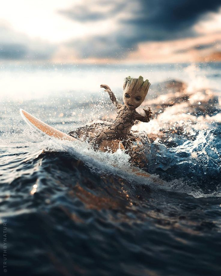 Surf S Up Groot Surfboard From Pixelsquid360 Background Images From Unsplash Graphicroozane Ourmoodydays Creativ Groot Marvel Baby Groot Groot
