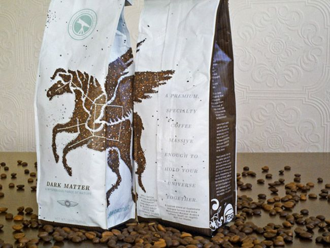 Coffee packaging with an illustration made out of coffee grounds. Love it!