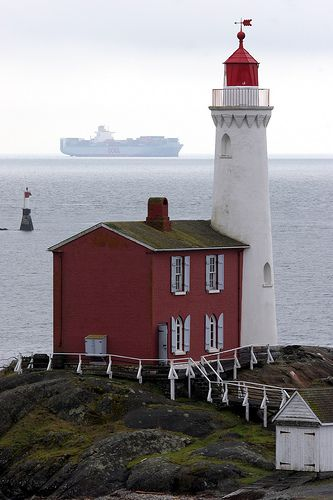 Fisgard Lighthouse, Victoria, Canada. Fisgard Lighthouse was built in 1860 to guide vessels through the entrance of Esquimalt harbour. It was automated in 1929.