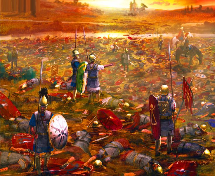 Carthaginian Troops Looting Dead Roman Legionaries After A