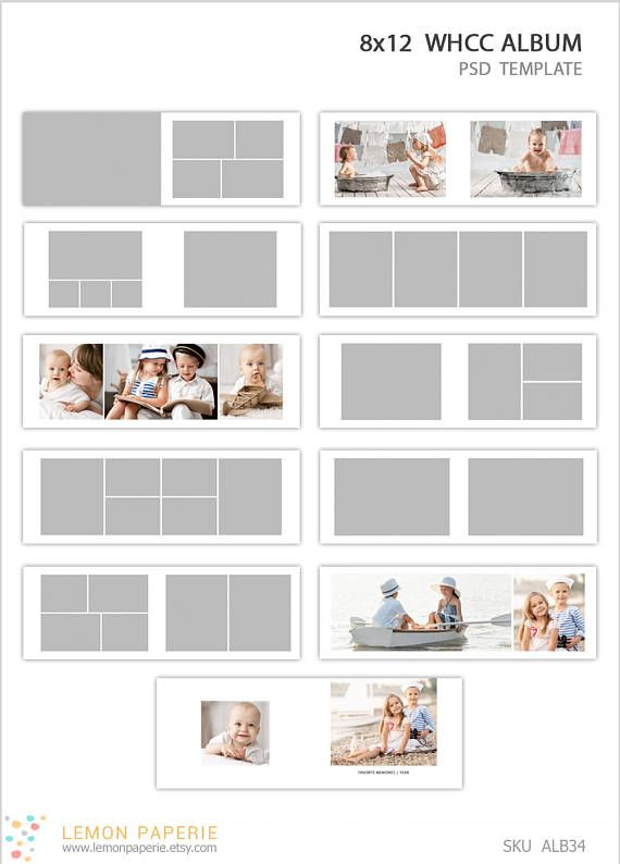 Pography Templates | 8x12 Whcc Press Printed Album Template Instant Download Sku Alb34