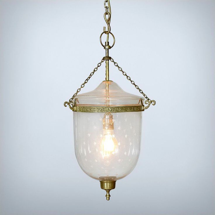 CLOCHE PENDANT • Clear glass with etched stars • Brass band, chains, finial and fittings • 1 x Edison Screw globe, max 60W (sold separately) • Pairs well with our Vintage Lightbulb Collection • Adjustable chain and ceiling medallion (included) http://www.momu.com.au/index.php/lighting/chandeliers-pendants/cloche-pendant.html