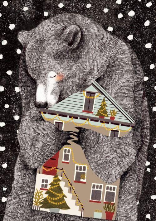 Здесь медведь обнимает своих людей. Вместе с домом, окошками, и подъездом.  Он тут гость. Он почти что возник проездом.  Но привык. Слишком много мелькнуло дней.
