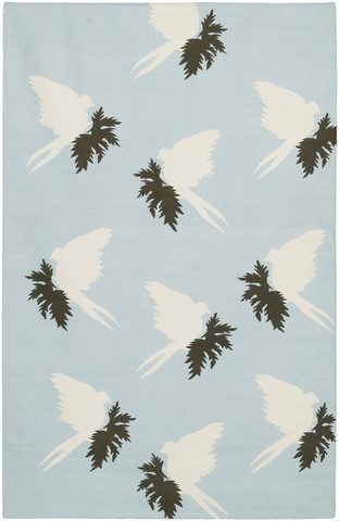 Swallows Dhurrie New Zealand Wool Area Rug in Powder and Cream design by Thomas Paul