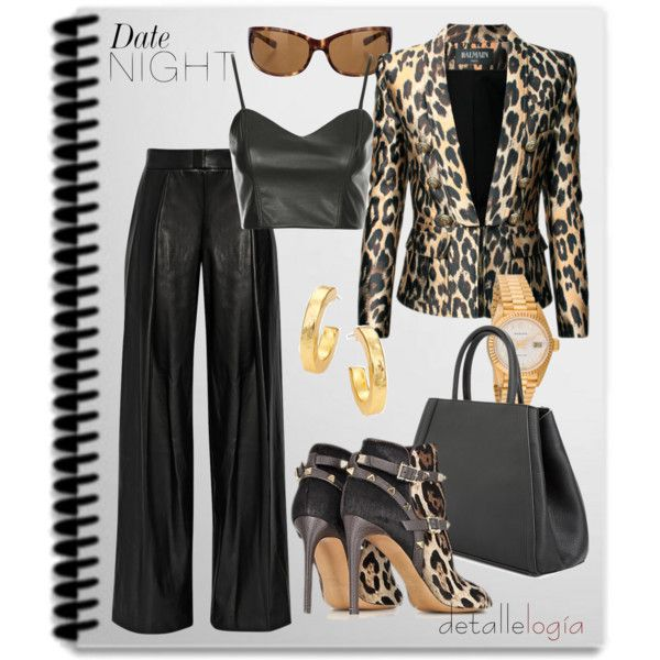 """""""Date Night : Leather & Animal Print"""" by detallelogia on Polyvore"""