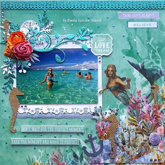 """<p>Hello+everybody!+Emmy+here+with+another+layout+featuring+the+whimsical+Mermaid+Tails+collection+from+Kaisercraft+and+Glitter+Cardstock+(available+at+Merly+Impressions+online+store).I+used+Dolphin+pattern+paper for+my+background.+To+create+the+3d-effect+I+fussy+cut+one+of+the+corners+from+the+Sea+Turtle+pattern+paper and+adhered+it+with Mounting+<a+href=""""+http://www.merlyimpressions.co.uk/blog/new-releases/perfect-moment-with-mermaid-tails/+"""">+…click+to+read+more</a></p>"""