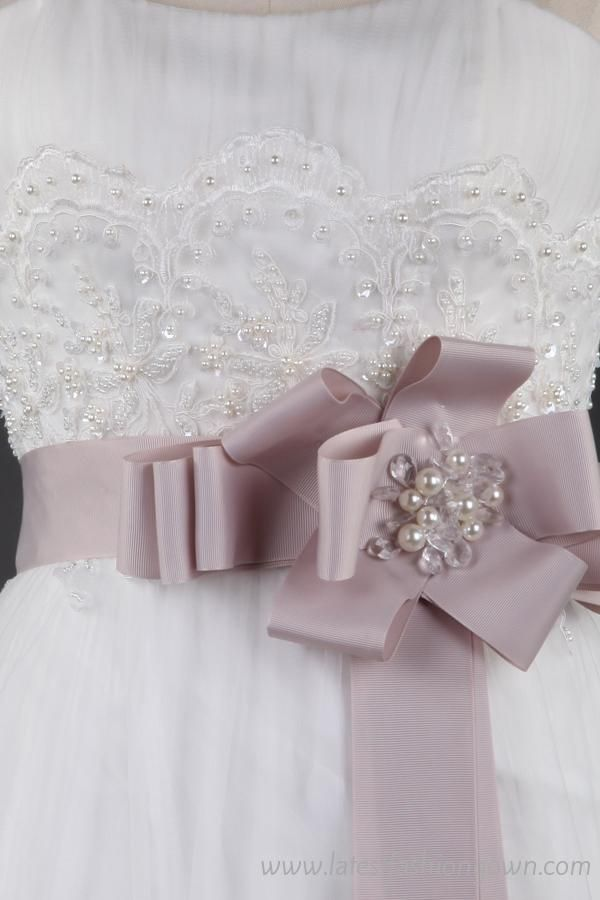 Real Wedding Bridal Gown With Pastel Pink Sash