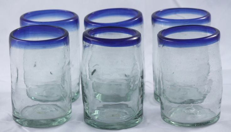 Hand Blown Mexican Tumblers Glasses Pinched Clear