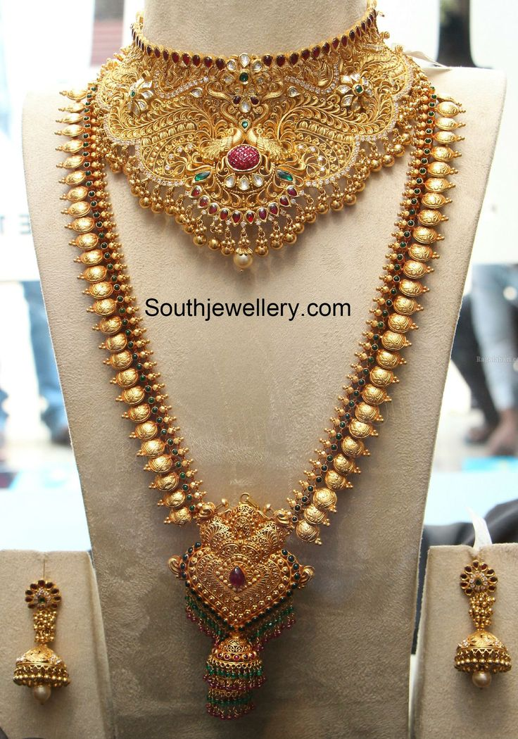Bridal Gold Choker and Lakshmi Long Chain photo