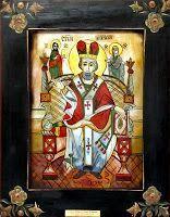 Sfantul Ierarh Nicolae, icoana pictata pe sticla